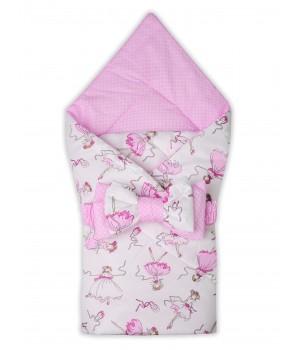 Конверт-одеяло на выписку Балерины белый/Горох на розовом лето + бант